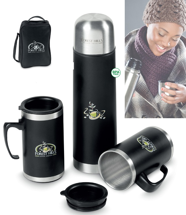 corporate gift mug and flask